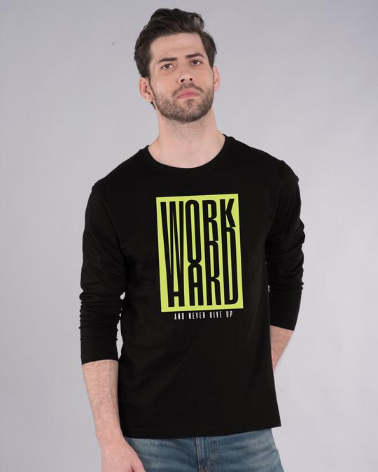 Shop Work Hard Box Full Sleeve T-Shirt-Front