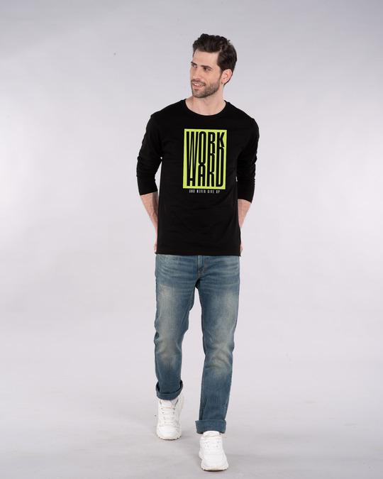 Shop Work Hard Box Full Sleeve T-Shirt-Full