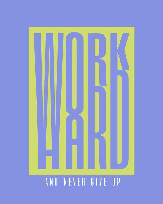 Shop Work Hard Box Half Sleeve T-Shirt-Blue Haze-Full