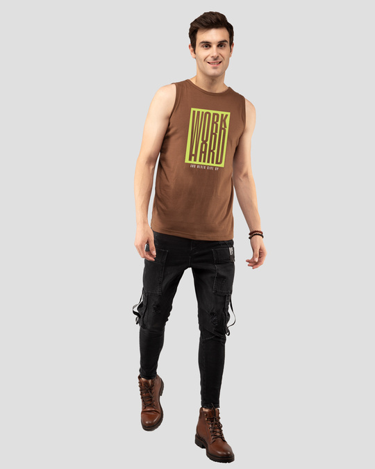 Shop Work Hard Box Vest Brown-Full