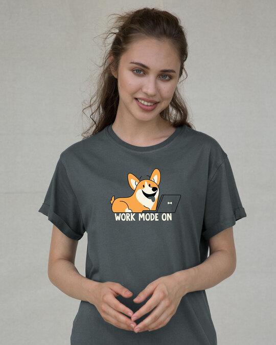 Shop Work Mode On Dog Boyfriend T-Shirt-Front