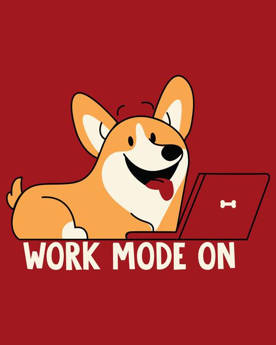 Shop Work Mode On Dog Round Neck 3/4th Sleeve T-Shirt