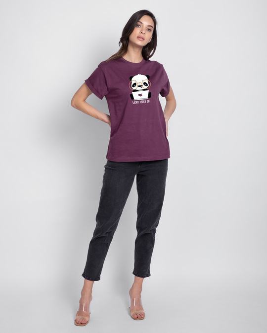 Shop Work Mode On Panda Boyfriend T-Shirt-Full