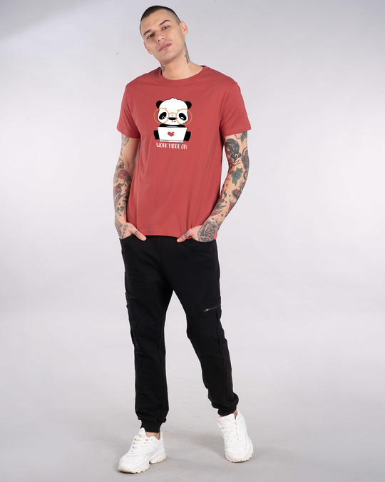 Shop Work Mode On Panda Half Sleeve T-Shirt-Full