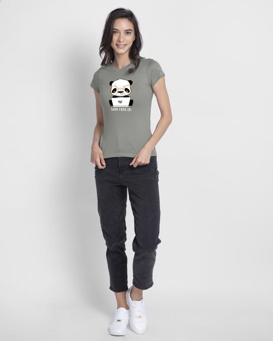 Shop Work Mode On Panda Half Sleeve T-shirt-Design
