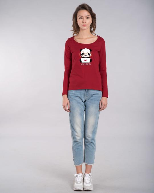 Shop Work Mode On Panda Scoop Neck Full Sleeve T-Shirt-Design