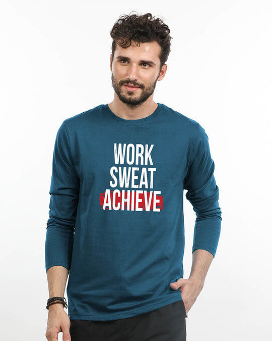 Shop Work Sweat Achieve Full Sleeve T-Shirt-Front