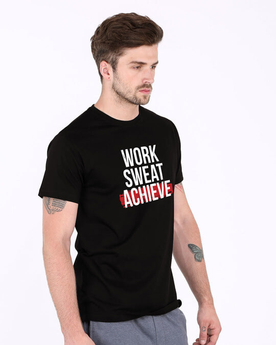 Shop Work Sweat Achieve Half Sleeve T-Shirt-Full