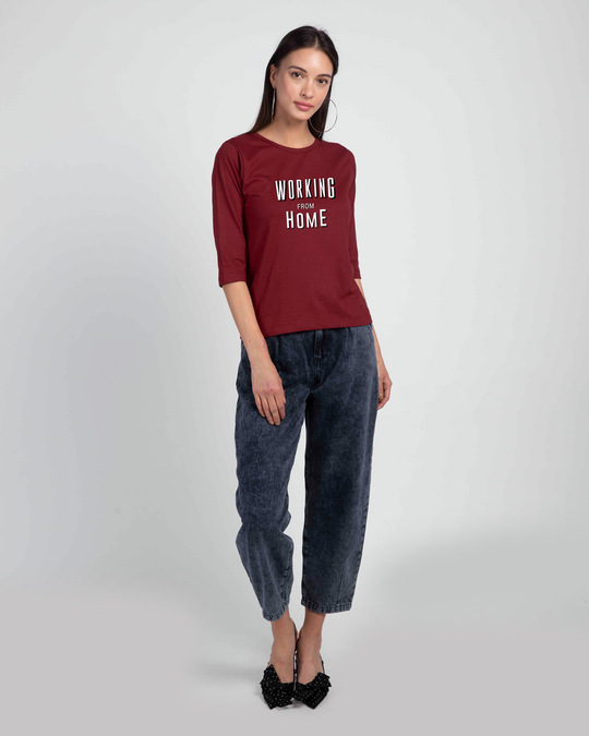 Shop Working From Home Round Neck 3/4 Sleeve T-Shirt Scarlet Red-Design