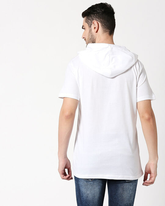 Shop World Peace Half Sleeve Hoodie T-Shirt White-Back