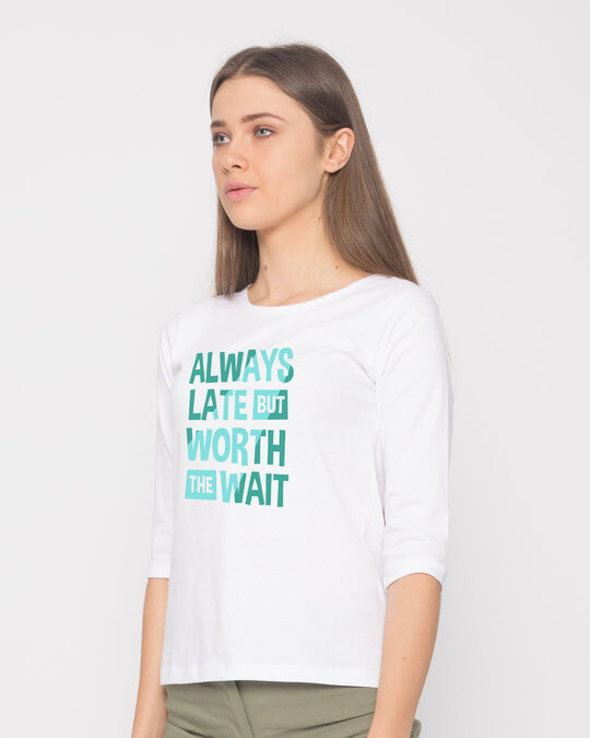 Shop Worth The Wait Round Neck 3/4th Sleeve T-Shirt-Full