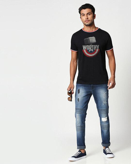 Shop Worthy Crewneck Varsity Rib H/S T-shirt-Multicolor-Full