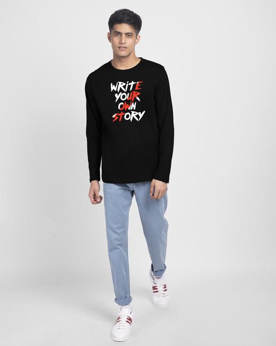 Shop Write Your Own Story Full Sleeve T-Shirt Black-Design