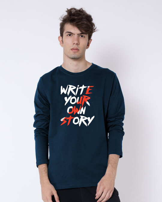 Shop Write Your Own Story Full Sleeve T-Shirt Navy Blue-Front