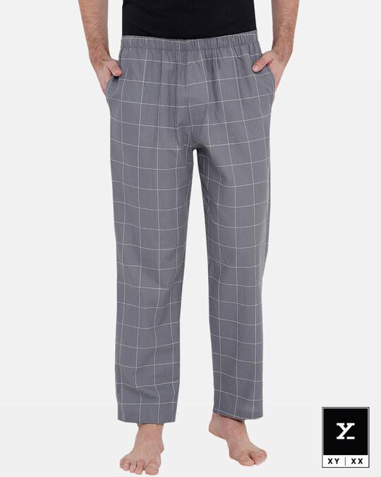 Shop Men's Checked Pyjama Grey-Front