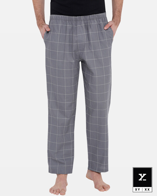 Shop XYXX Men's Checked Pyjama Grey-Front