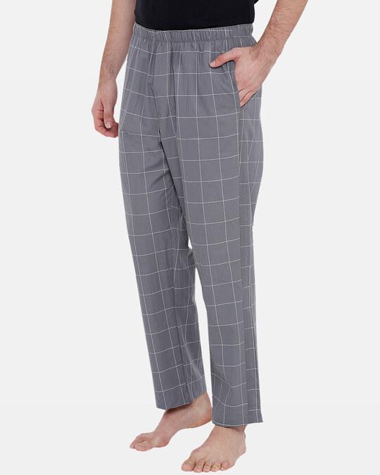 Shop XYXX Men's Checked Pyjama Grey-Back