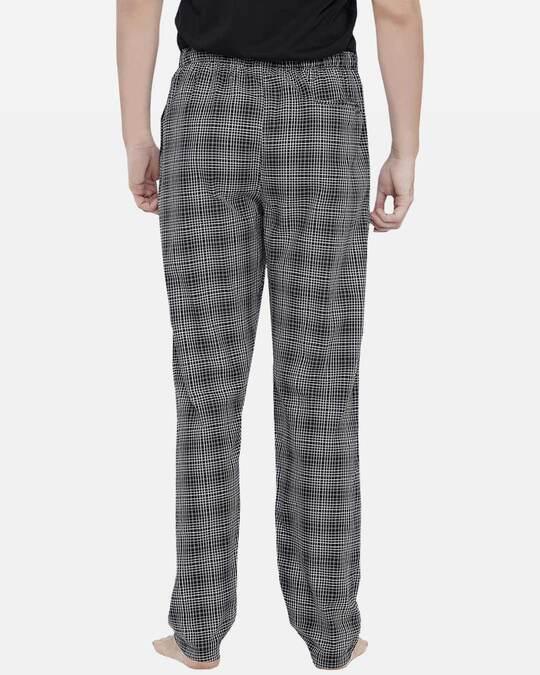 Shop XYXX Super Combed Cotton Checkered Pyjama for Men (Pack of 1) Black & White Checks-Design