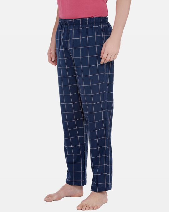 Shop XYXX Super Combed Cotton Checkered Pyjama for Men (Pack of 1) Pink Checks-Back