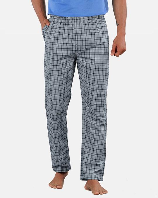 Shop Super Combed Cotton Checkered Pyjama For Men (Pack Of 2)-Design
