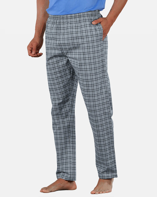 Shop Super Combed Cotton Checkered Pyjama For Men (Pack Of 2)-Full