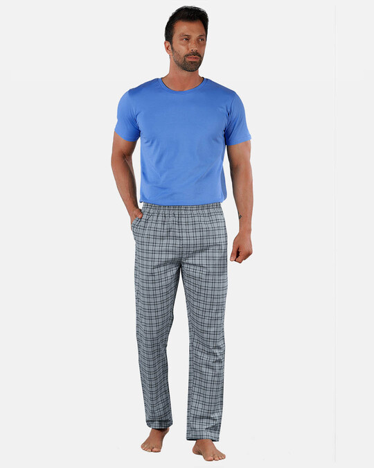 Shop Super Combed Cotton Checkered Pyjama For Men (Pack Of 2)