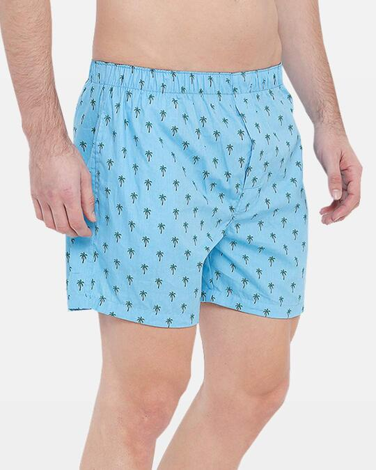 Shop Super Combed Cotton Checks & Printed Boxers For Men (Pack Of 2) Palm Tree+Nautical Stripe-Back