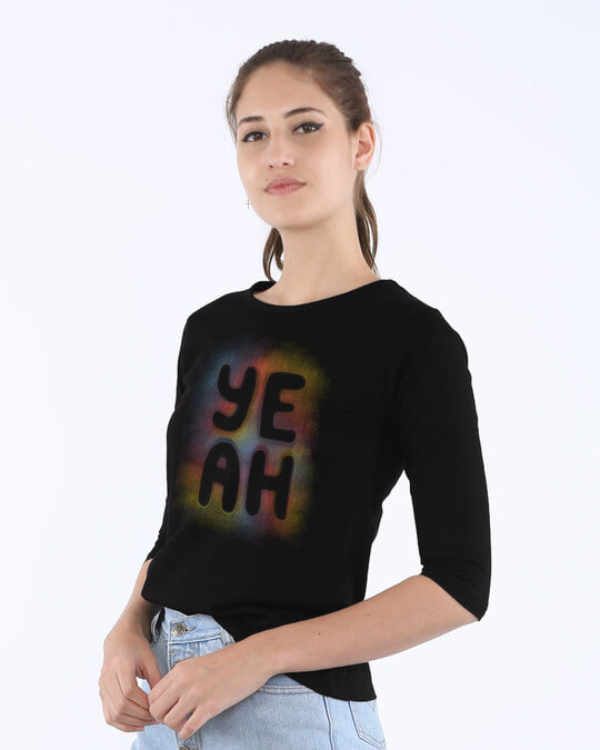Shop Yeah Colorful Round Neck 3/4th Sleeve T-Shirt-Back