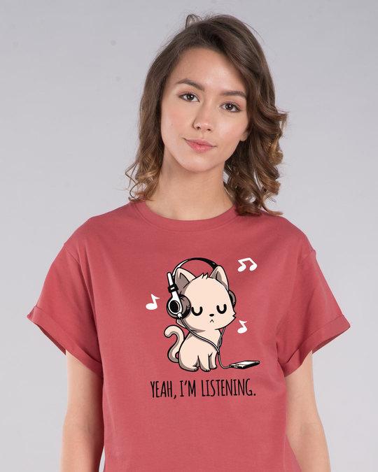 Shop Yeah, I'm Listening Boyfriend T-Shirt-Front