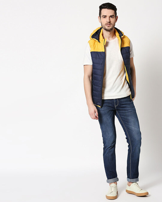 Shop Yellow & Blue Two Block Vest Puffer Jacket with Detachable Hoodie
