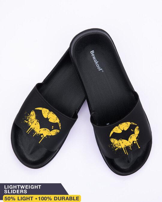 Shop Yellow Batman Men's Printed Sliders-Front