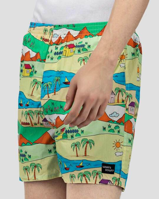 Shop | Yellow Childhood Scenery Boxer Shorts | Throwback Boxers-Back