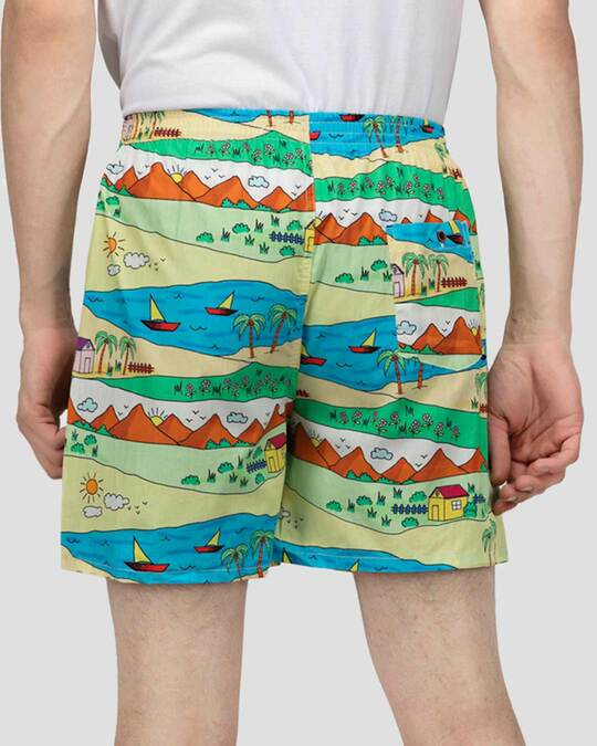Shop | Yellow Childhood Scenery Boxer Shorts | Throwback Boxers-Design