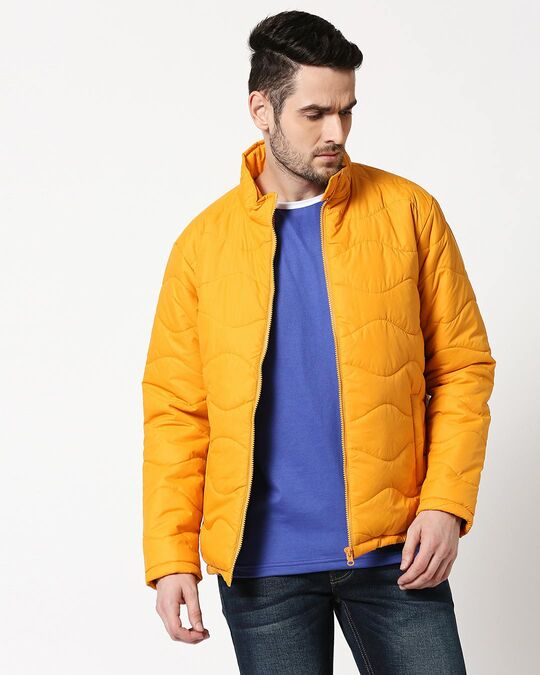 Shop Yellow Chill Block Wave Puffer Jacket-Front