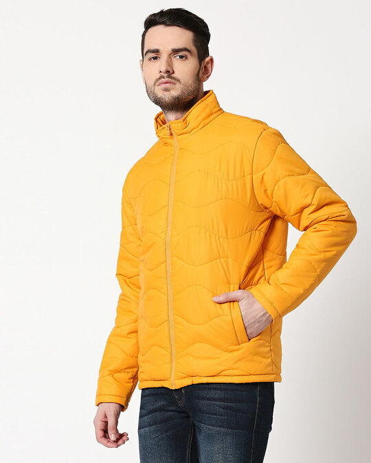 Shop Yellow Chill Block Wave Puffer Jacket-Design