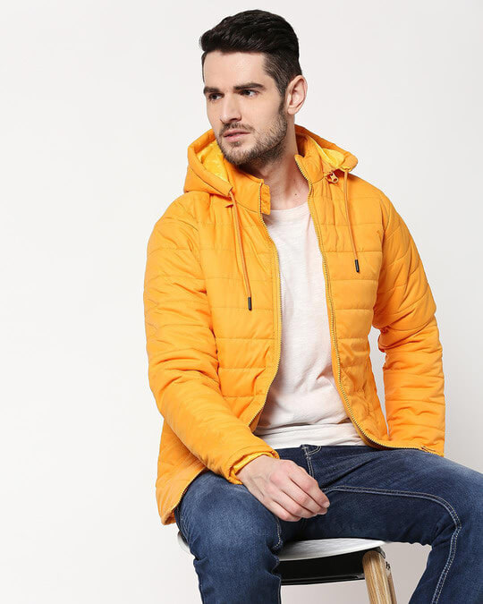 Shop Yellow Plain Puffer Jacket with Detachable Hood-Front