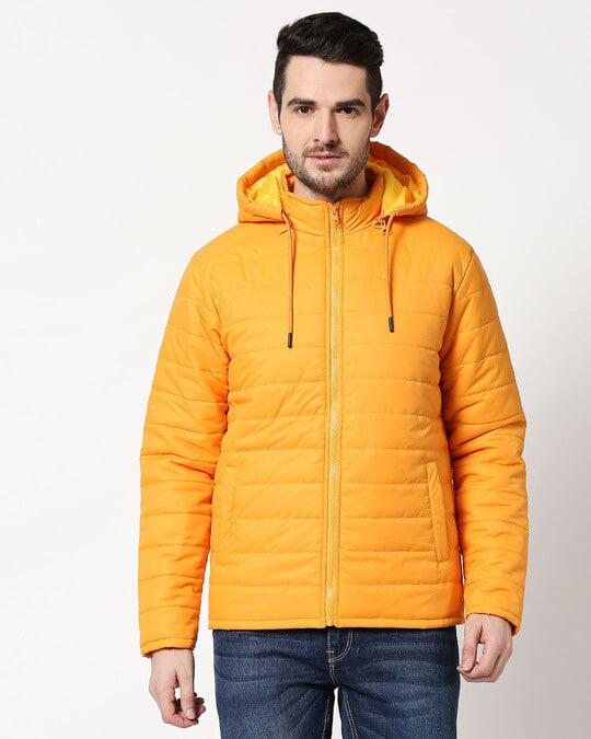 Shop Yellow Plain Puffer Jacket with Detachable Hood-Back