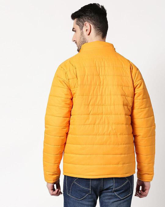 Shop Yellow Plain Puffer Jacket with Detachable Hood-Full