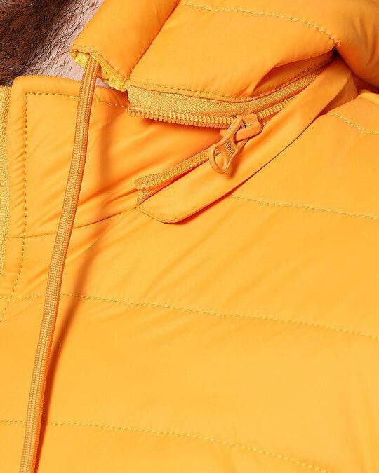 Shop Yellow Plain Puffer Jacket with Detachable Hood