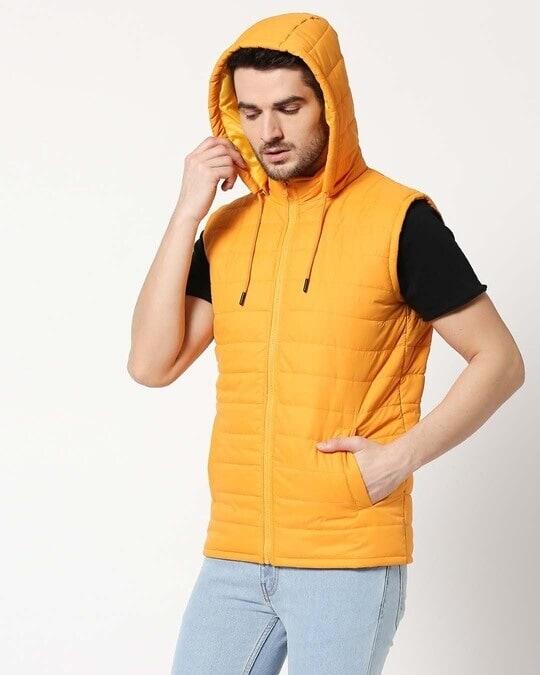 Shop Yellow Plain Sleeveless Puffer Jacket with Detachable Hood-Design