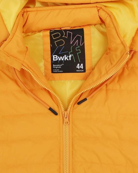 Shop Yellow Plain Sleeveless Puffer Jacket with Detachable Hood