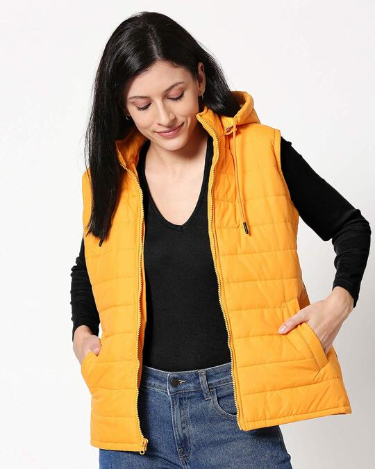 Shop Yellow Plain Sleeveless Puffer Jacket with Detachable Hood-Front