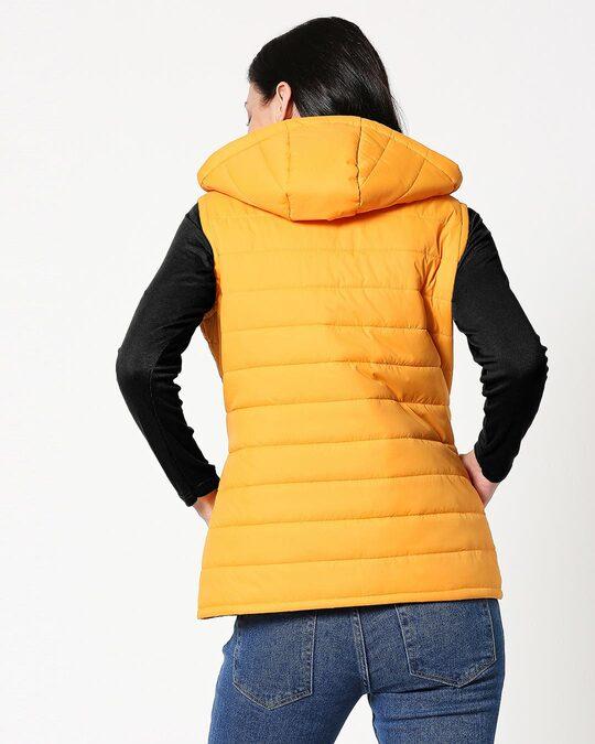 Shop Yellow Plain Sleeveless Puffer Jacket with Detachable Hood-Full