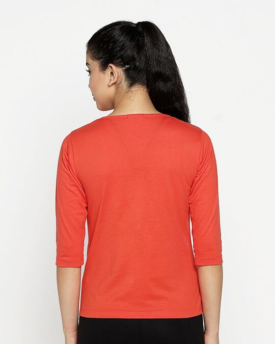 Shop Yes! Ignoring You Round Neck 3/4th Sleeve T-Shirt (DL) Smoke Red-Design