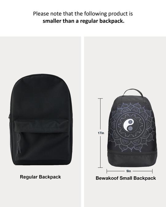 Shop Yin Yang Mandala Printed Small Backpack-Full