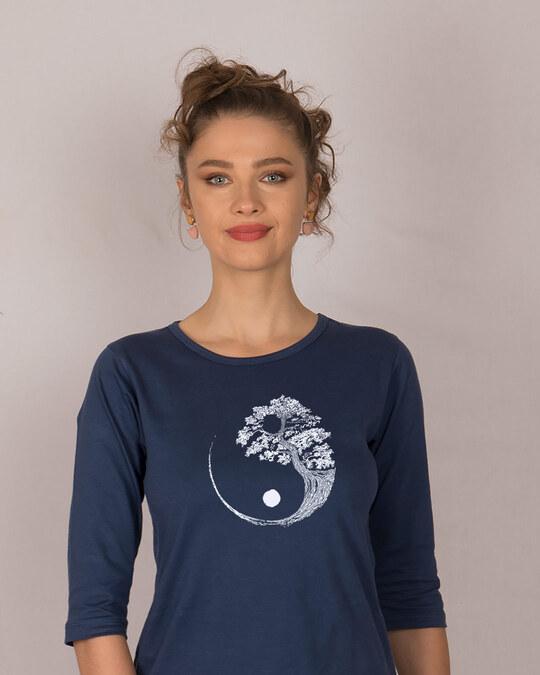 Shop Ying Yang Bonsai Round Neck 3/4th Sleeve T-Shirt-Front