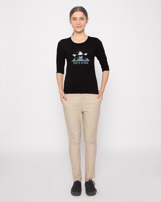 Shop Yoga Se Hoga Mickey Round Neck 3/4th Sleeve T-Shirt (DL)