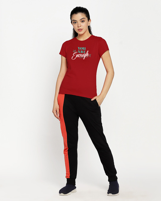 Shop You Are Enough Half Sleeve T-Shirt Bold Red-Full