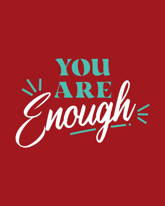 Shop You Are Enough Round Neck 3/4th Sleeve T-Shirt Bold Red-Full