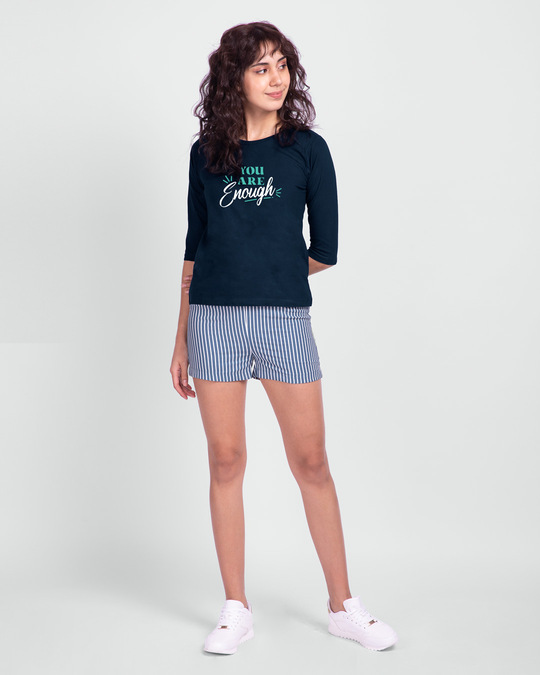 Shop You Are Enough Round Neck 3/4th Sleeve T-Shirt Navy Blue-Full